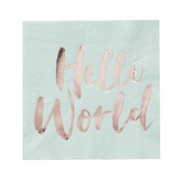 Hello World Mint Green & Gold Paper Napkins - pack of 20